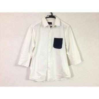 【中古】 ザ ショップ ティーケー THE SHOP TK (MIXPICE) 七分袖シャツ サイズL メンズ 白 ネイビー