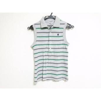 【中古】 ジムフレックス ノースリーブポロシャツ サイズ12 L レディース グレー グリーン ネイビー