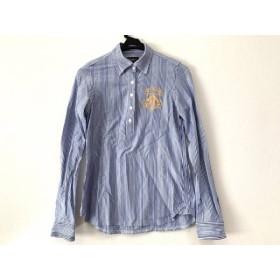 【中古】 パーリーゲイツ 長袖ポロシャツ サイズ1 S メンズ 白 ネイビー ライトブルー ストライプ