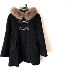 【中古】 ジャスグリッティー JUSGLITTY コート サイズ2 M レディース 黒 シルバー 冬物