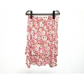 【中古】 フランコフェラーロ スカート サイズ3 L レディース ピンク ベージュ マルチ 花柄