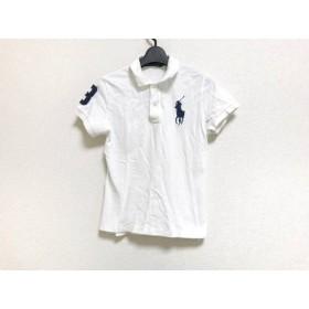 【中古】 ラルフローレン RalphLauren 半袖ポロシャツ レディース ビッグポニー 白 ネイビー