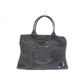 【中古】 トリーバーチ TORY BURCH トートバッグ 美品 黒 ナイロン PVC(塩化ビニール)
