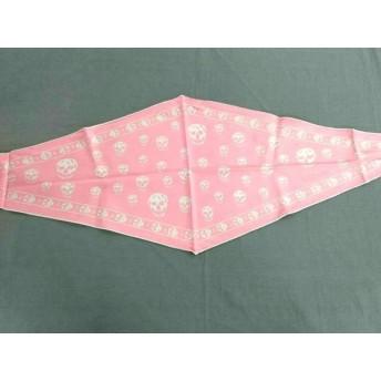 【中古】 アレキサンダーマックイーン ALEXANDER McQUEEN スカーフ U 美品 ピンク ライトグレー スカル