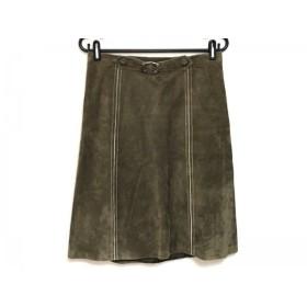 【中古】 ドゥーズィエム DEUXIEME CLASSE スカート サイズ38 M レディース カーキ レザー