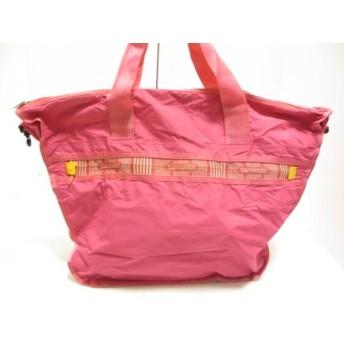 【中古】 サムソナイト Samsonite ハンドバッグ ピンク 折りたたみ ナイロン