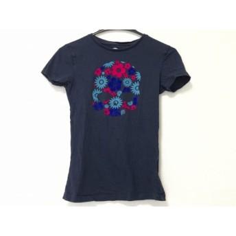 【中古】 ハイドロゲン 半袖Tシャツ レディース ネイビー ライトブルー ピンク スカル/フラワー