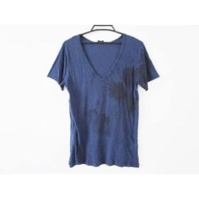 【中古】 ジョセフ JOSEPH 半袖Tシャツ サイズM レディース ネイビー 黒 Vネック