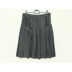 【中古】 ポールスミスブラック PaulSmith BLACK スカート サイズ42 L レディース 黒 ダークブラウン