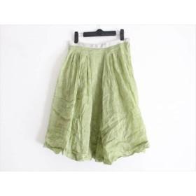 【中古】 マーガレットハウエル MargaretHowell スカート サイズ2 M レディース グリーン アイボリー