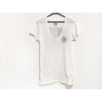 【中古】 クロムハーツ Chrome hearts 半袖Tシャツ サイズS レディース アイボリー 黒