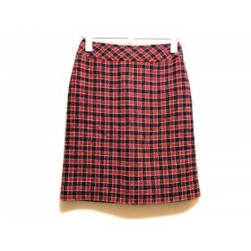 【中古】 ルネ スカート サイズ34 S レディース 美品 レッド ネイビー アイボリー チェック柄/TISSUE