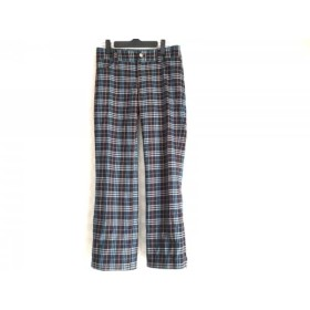 【中古】 バーバリーブルーレーベル パンツ サイズ36 S レディース 黒 ライトブルー 白 チェック柄