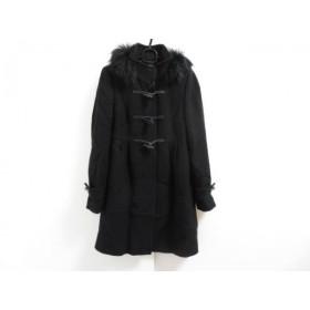 【中古】 クミキョク 組曲 KUMIKYOKU ダッフルコート サイズ2 M レディース 美品 黒 ファー/冬物