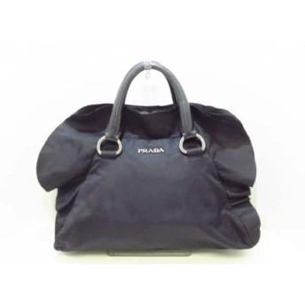 【中古】 プラダ PRADA ハンドバッグ 美品 - 黒 フリル/革タグ ナイロン レザー