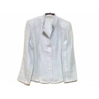 【中古】 ワコー WAKO ジャケット サイズ40 M レディース 美品 ライトブルー 肩パッド/スパンコール