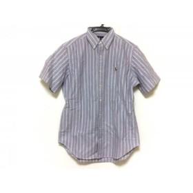 【中古】 ラルフローレン RalphLauren 半袖シャツ サイズS メンズ パープル グリーン マルチ ストライプ