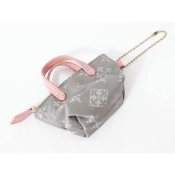 【中古】 ラシット russet キーホルダー(チャーム) 美品 グレー ライトグレー ピンク ミニバッグ