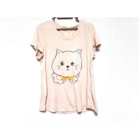 【中古】 フランシュリッペ franchelippee 半袖Tシャツ サイズM レディース ピンク 黒 マルチ ねこ