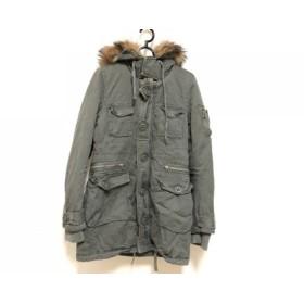 【中古】 マウジー moussy ダウンコート サイズ2 M レディース ライトグリーン ブラウン ファー/冬物