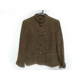 【中古】 レリアン Leilian ジャケット サイズ9 M レディース ブラウン 黒 肩パッド