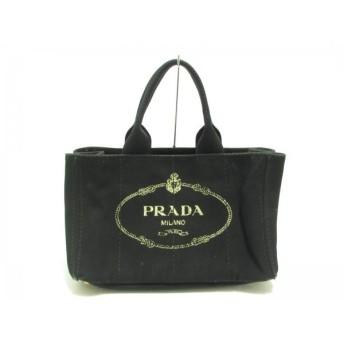 【中古】 プラダ PRADA トートバッグ CANAPA 黒 キャンバス