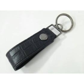 【中古】 サンローランパリ キーホルダー(チャーム) 黒 シルバー 型押し加工 レザー 金属素材