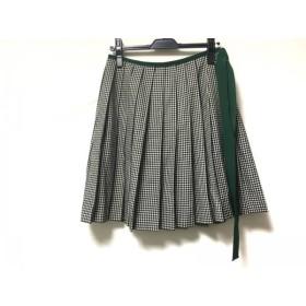【中古】 ロイスクレヨン スカート サイズM レディース 黒 白 グリーン チェック柄/プリーツ
