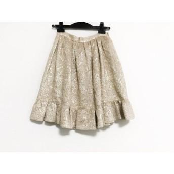 【中古】 バレンチノ R.E.D VALENTINO スカート サイズ40 M レディース ベージュ ゴールド シワ加工/ラメ