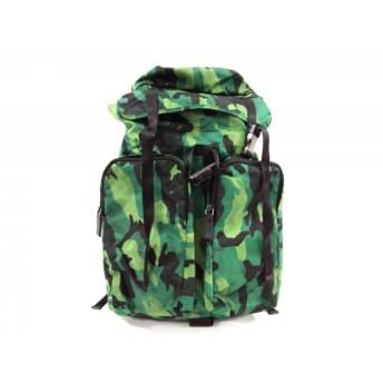 【中古】 プラダ PRADA リュックサック 美品 - V136 グリーン 黒 ダークグリーン 迷彩柄 ナイロン