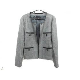 【中古】 アイシービー ICB ジャケット サイズ42 L レディース 美品 黒 アイボリー 毛