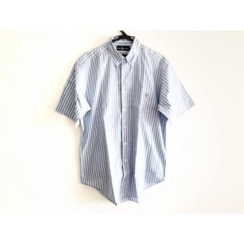 【中古】 ラルフローレン 半袖シャツ サイズL メンズ 美品 ライトブルー 白 パープル ストライプ