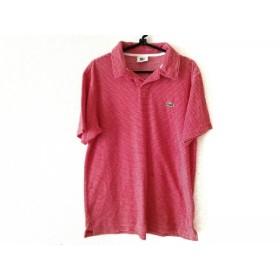 【中古】 ラコステ Lacoste 半袖ポロシャツ サイズ3 L メンズ レッド 白 ボーダー