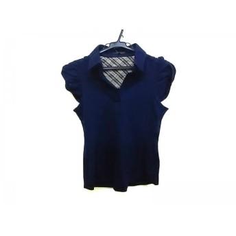 【中古】 バーバリーブラックレーベル 半袖ポロシャツ サイズ38 M レディース ネイビー