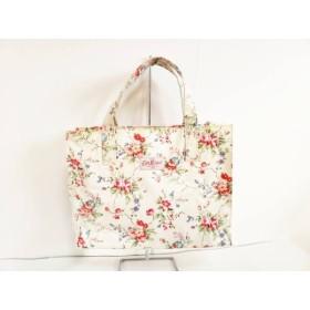【中古】 キャスキッドソン ハンドバッグ アイボリー ピンク マルチ 花柄 コーティングキャンバス