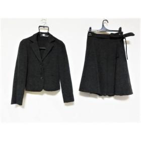 【中古】 キヨコタカセ K.T. スカートスーツ サイズ7 S レディース ダークグレー 黒