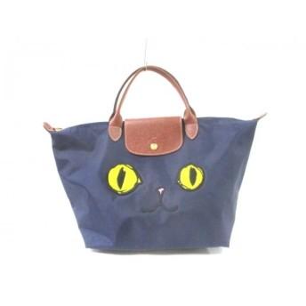 【中古】ロンシャン LONGCHAMP ハンドバッグ ネイビーxブラウンxマルチ 猫 ナイロンxレザー