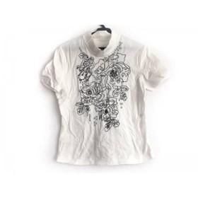 【中古】 ヒロコビス HIROKO BIS 半袖カットソー サイズ9 M レディース 白 ハイネック/刺繍