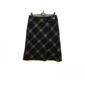 【中古】 バーバリーロンドン 巻きスカート サイズ40 L レディース 黒 ブラウン ベージュ チェック柄
