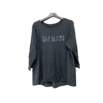 【中古】 バルマン BALMAIN 七分袖Tシャツ サイズ13 L レディース 黒 スパンコール