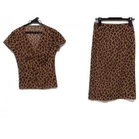 【中古】 ボッシュ スカートセットアップ サイズ38 M レディース ブラウン ダークブラウン 豹柄/メッシュ