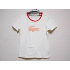 【中古】 ラコステ Lacoste 半袖Tシャツ サイズ44 L レディース 白 オレンジ レッド