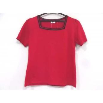 【中古】 アニエスベー agnes b 半袖セーター サイズL レディース レッド 黒