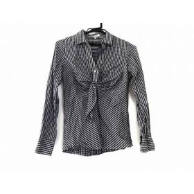 【中古】 ナラカミーチェ 長袖ポロシャツ サイズ2 M レディース 白 パープル ダークグレー チェック柄