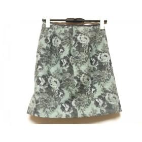 【中古】 ジャスグリッティー JUSGLITTY スカート サイズ1 S レディース ライトグリーン ネイビー 花柄