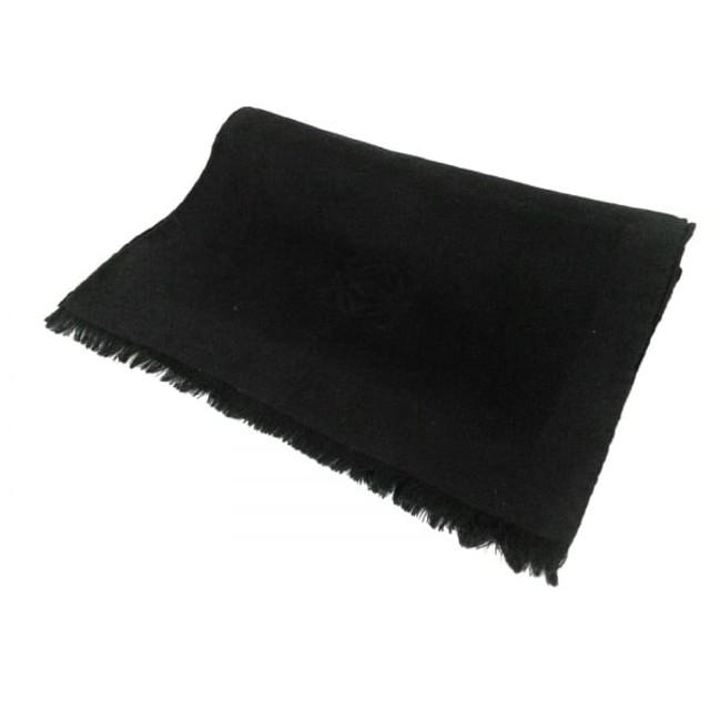 【中古】 ロエベ LOEWE ストール(ショール) 美品 黒 ウール シルク