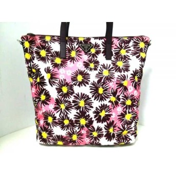 【中古】 プラダ PRADA ハンドバッグ 美品 - B4696F ボルドー ピンク マルチ 花柄 ナイロン レザー