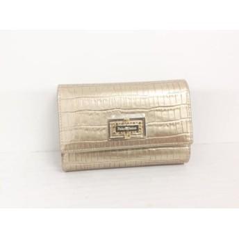 【中古】 ピンキー&ダイアン Pinky & Dianne 2つ折り財布 美品 ゴールド 型押し加工 エナメル(合皮)