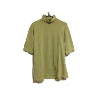 【中古】 パーリーゲイツ 半袖カットソー サイズ5 XL メンズ イエロー グレー ハイネック/ボーダー