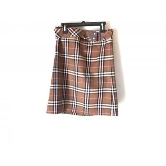 【中古】 バーバリーブルーレーベル スカート サイズ36 S レディース 美品 ブラウン アイボリー マルチ